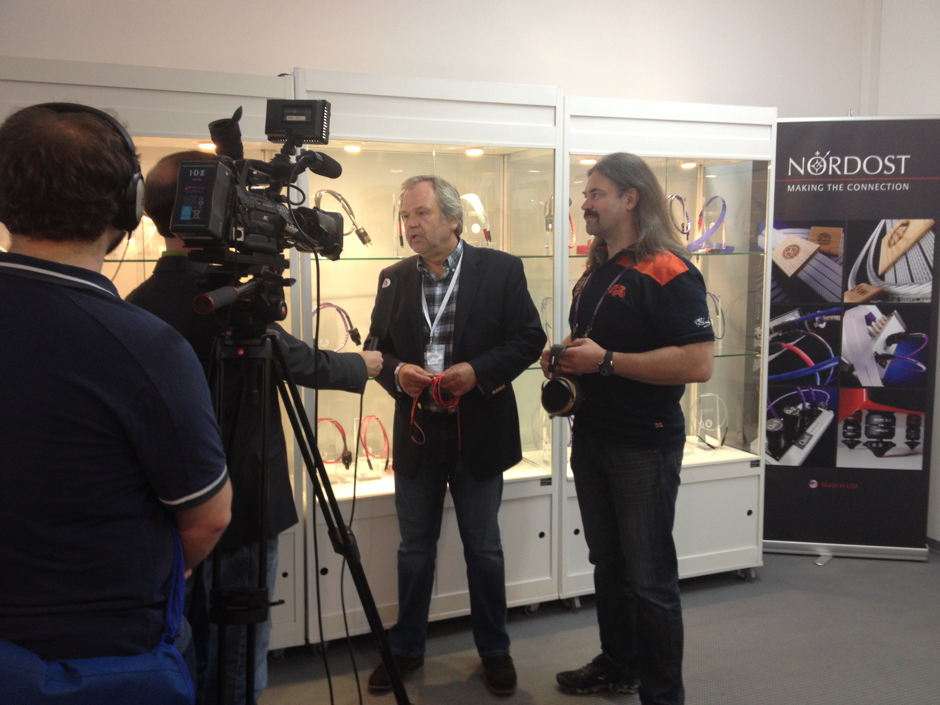 Bjorn Bengtsson and Andreas Proske showing off the new Heimdall 2 Headphone Cable