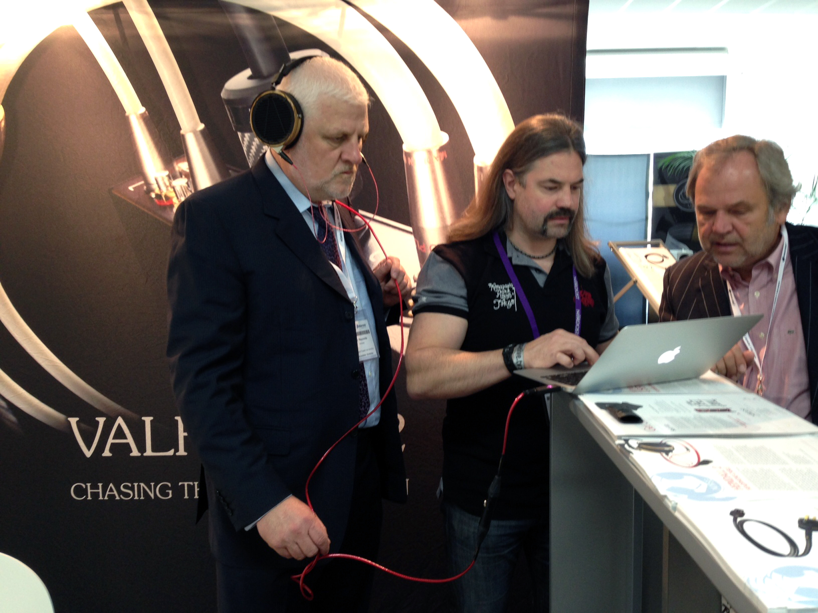 Nordost president Joe Reynolds getting in a quick listen to the new Heimdall 2 Headphone cable.
