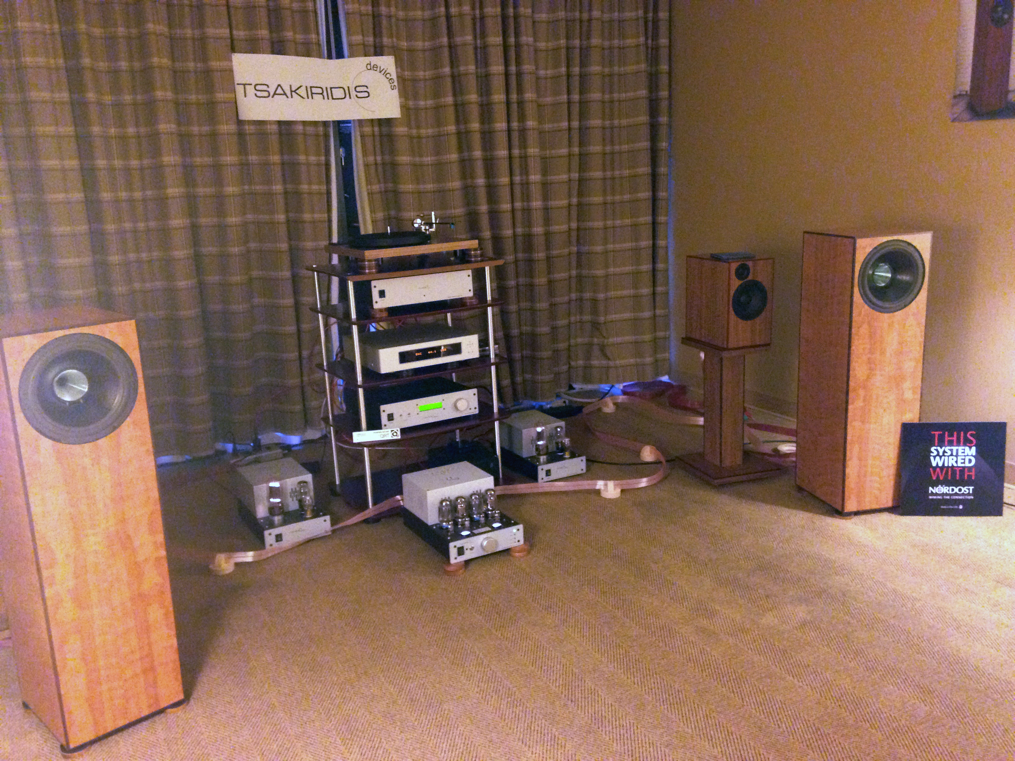 Long-time Nordost supporters, Coherent Audio, were wired with Heimdall 2 and power purified by QRT.  Even the speakers had Nordost internal wiring!