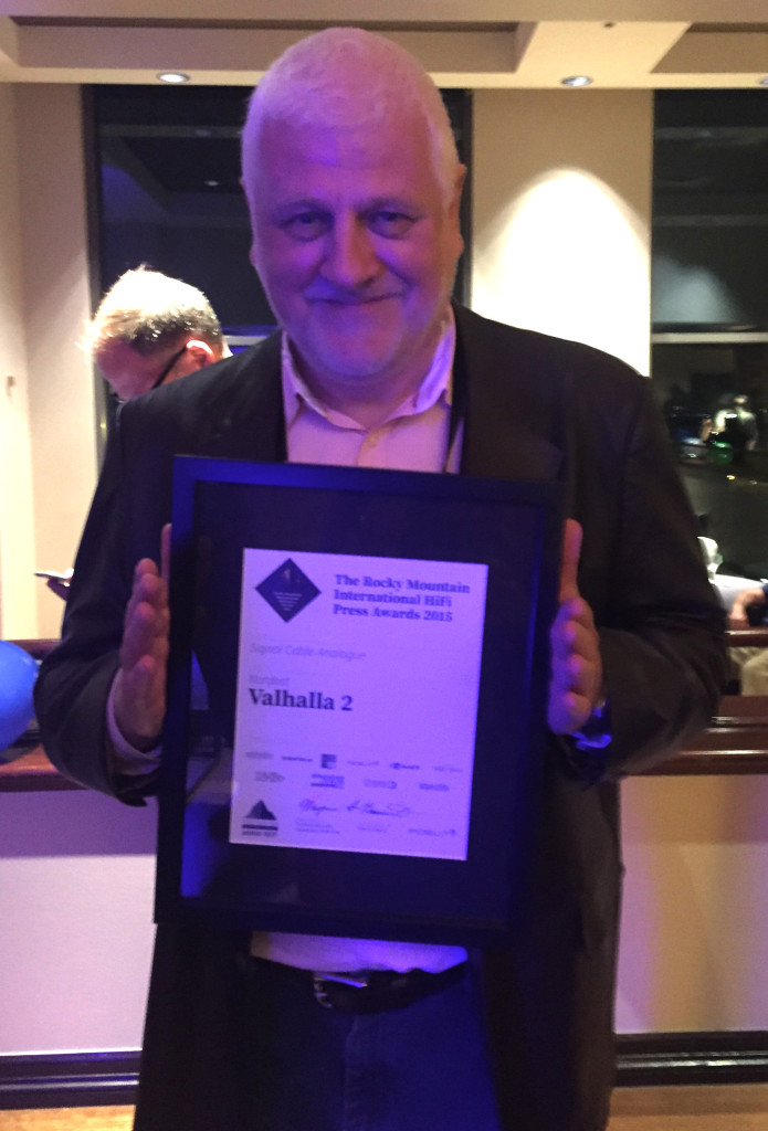 Nordost President Joe Reynolds proudly accepting the Signal Cable Analogue Award for Valhalla 2!