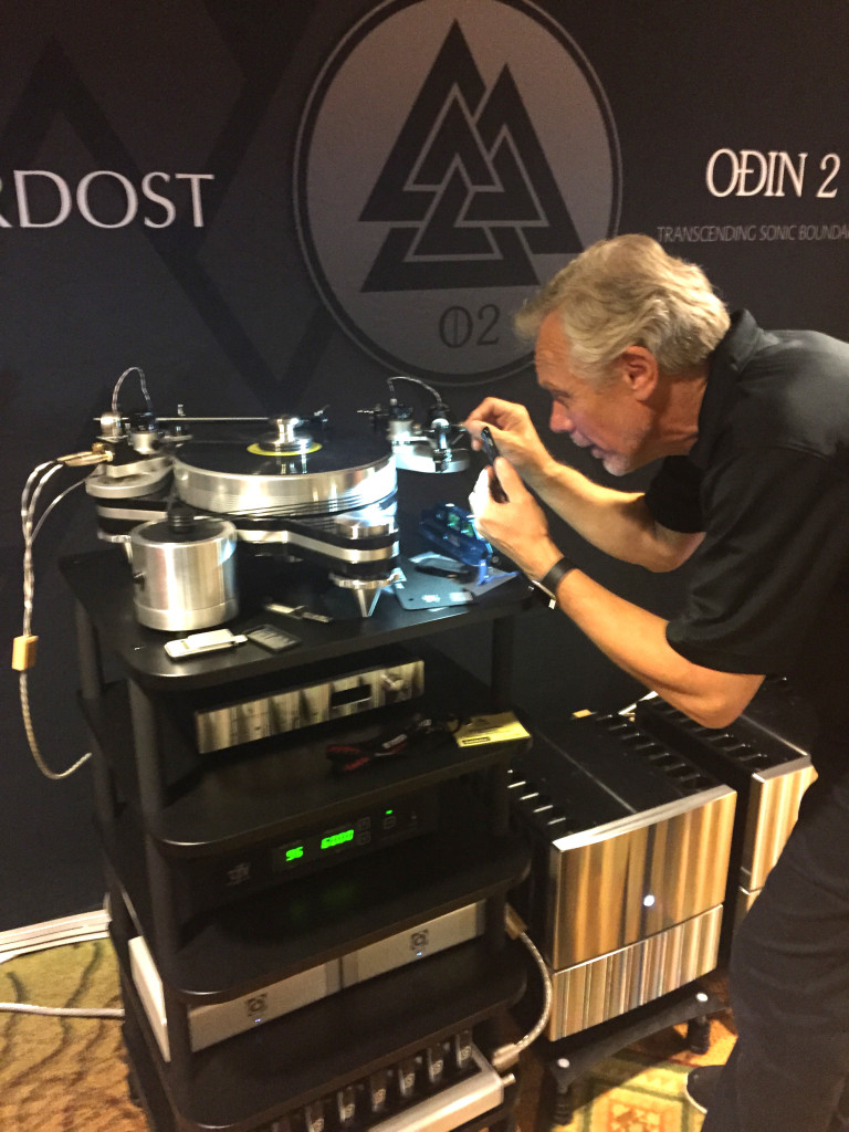 Mike Marko adjusts the VPI Avenger Turntable (wired with Nordost internal tonearm cable!)