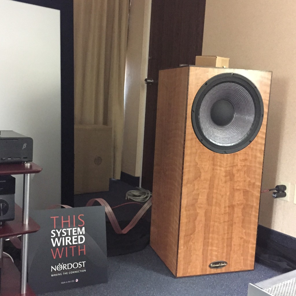 Coherent Audio's speakers were not only hooked up with Heimdall 2 speaker cables, but they were internally wired with Nordost too!