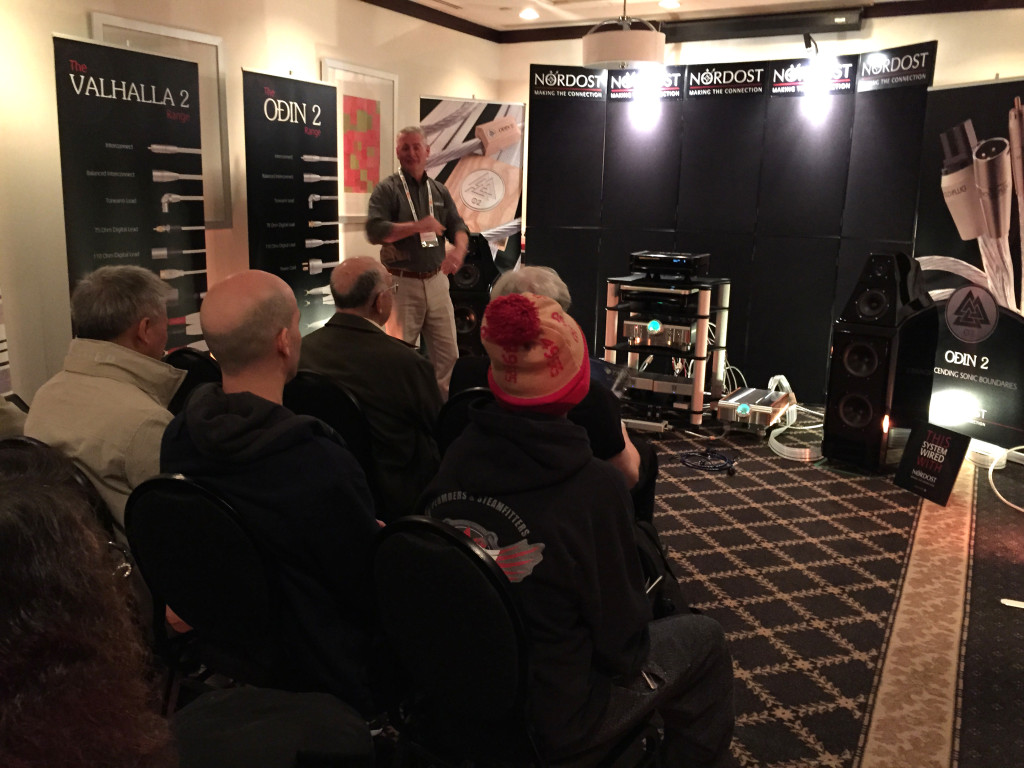 Michael Taylor gives a great Power Cord demonstration in Nordost's room!