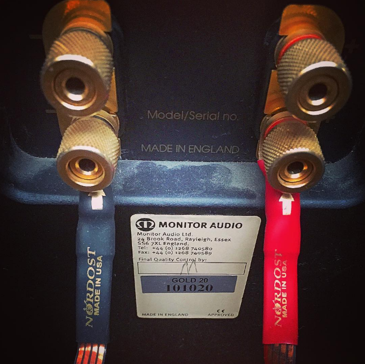 "Nice picture from @acido_ of Monitor Audio with some classic Nordost cables ""#madeinengland, #madeinusa"""