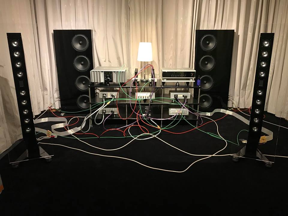"Cables are up front, on display in this Oslo Hi-Fi system, grounded with QKORE. ""Nordost Cables Demoroom is primed with audio insight speakers and burmester Electronics!"""