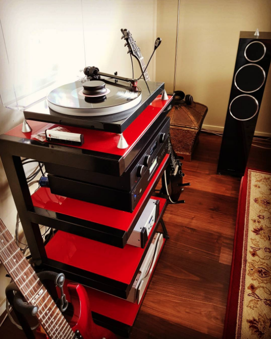 """Dan, you were right! Vinyl sounds amazing through the Audiolab 8300A! #vinyl #red #nowspinning #duranduran #projectturntable #audiolab #rotel #wyred4sound #jungson #wharfedale #nordost #mogamicables #espguitars #ortofon2mred #audiophile"" - @evotrance"