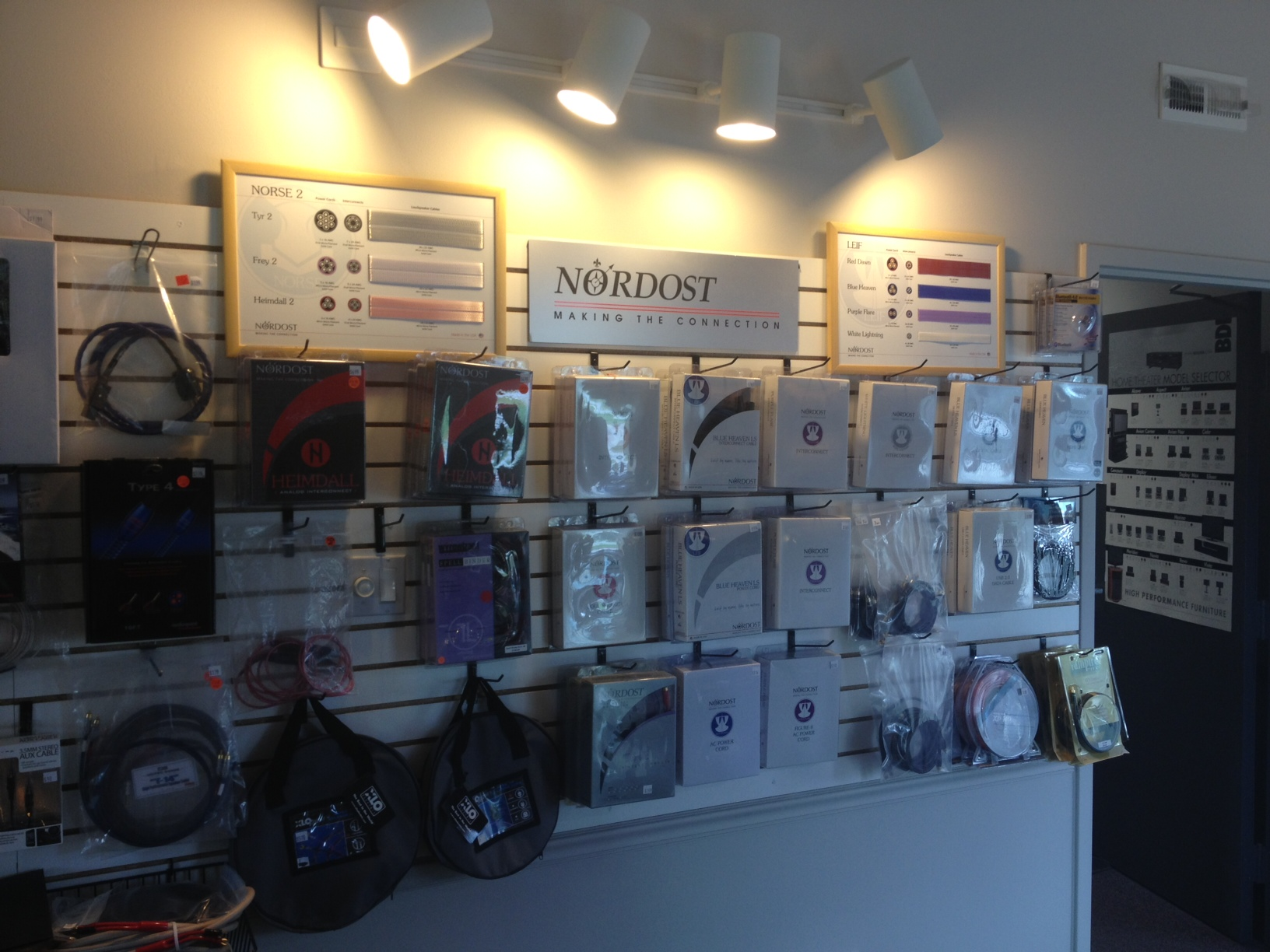 Holm Audio's Nordost display wall, fully equipped with our cable display boards!